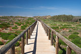 Wooden walkway leading to Bordeira Beach, Algarve,  Portugal