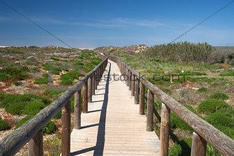 Wooden walkway leading to Bordeira Beach, Algarve,  Portugal