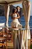 Beautiful young couple posing outdoors
