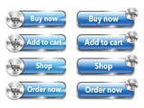 Metallic web elements/buttons for online shopping