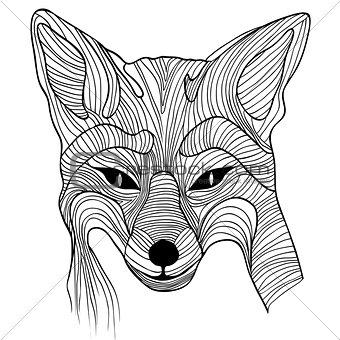 Fox animal sketch symbol