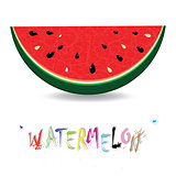 Watermelon fresh slices background. Red sweet juice pattern vector illustration.