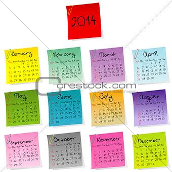 2014 stickers calendar