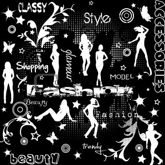Background with women silhouettes and typography