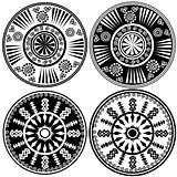 Black and white round ornaments in ethnic style