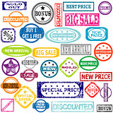 Rubber colored stamps with sale messages