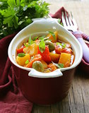vegetable stew  with olives and red pepper