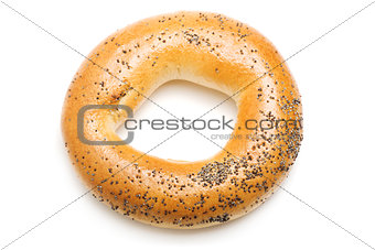Bagel with poppy seeds, isolated