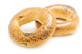 Two bagels with poppy seeds, isolated