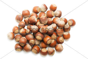 A handful of hazelnuts, isolated