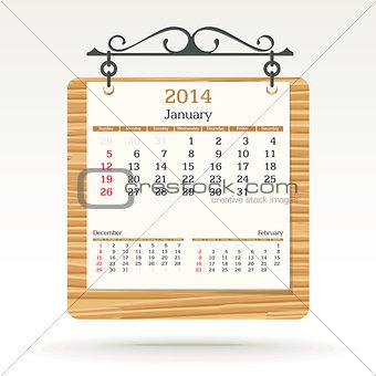 january 2014 - calendar