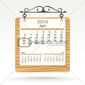 april 2014 - calendar