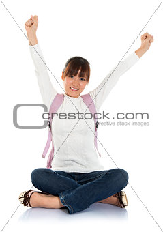 excited Asian female student