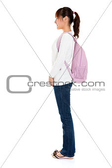 side view of Asian female student