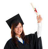 Graduate student raised her graduation diploma