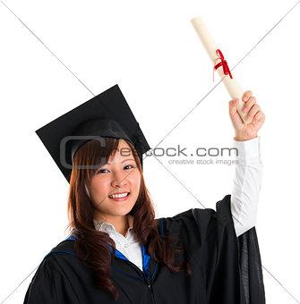 Graduate student raised her graduation diploma