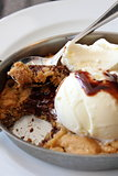 Fresh baked cookie with ice cream