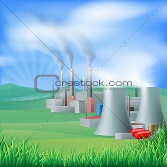 Power plant energy generation illustration