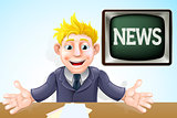 TV Newscaster cartoon