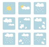 Weather icons vector illustrations - clip art isolated on white background.
