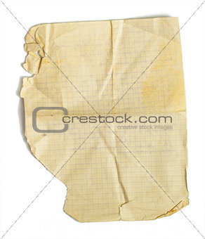 Old jammed paper sheet for math isolated on white
