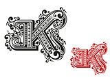 Letter K in retro vintage style