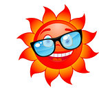 Happy sun in sunglasses
