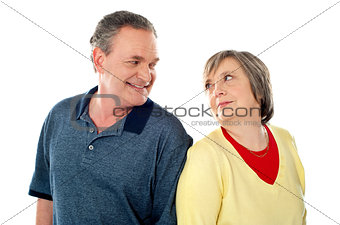 Attractive senior couple being playful