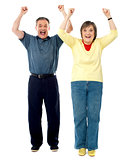 Excited senior couple. Arms raised