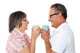 Romantic senior old couple enjoying coffee