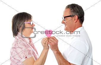 Aged couple holding paper heart. Smiling at each other