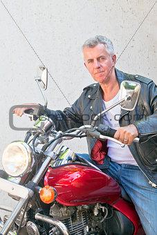 motorbiker on a red cruiser