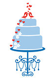 wedding cake with birds, vector