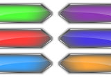 Set of colorful glossy arrow banners