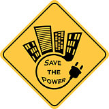 save the power yellow sign