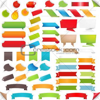 Big Set Speech Bubble And Colorful Labels