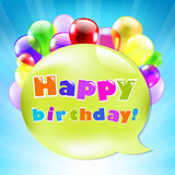 Birthday Day Card With Colorful Balloons