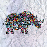 ornamental silhouette of rhinoceros