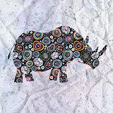ornamental silhouette of rhinoceros