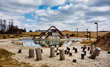Modern playground in Ry, Denmark