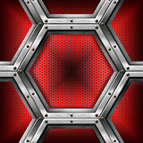 Red and Metal Background with Hexagons