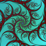 Burgundy on Turquoise Spiral
