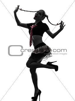 sexy woman in schoolgirl costume portrait  silhouette