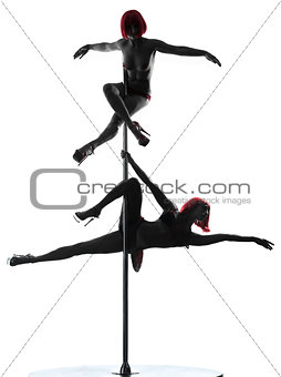 two women pole dancer silhouette