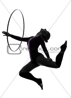 Rhythmic Gymnastics with hula hoop woman silhouette