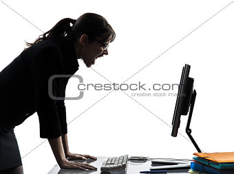 business woman computer computing  screaming angry silhouette