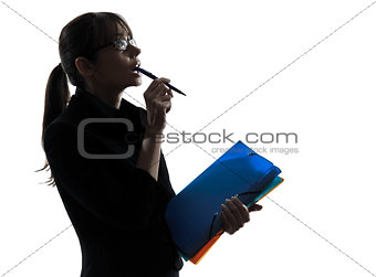 business woman thinking looking up  silhouette