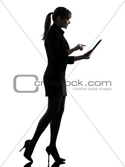 business woman walking  computer computing  typing digital table