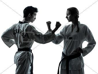 karate taekwondo martial arts man woman couple silhouette