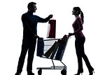 couple woman man with shopping cart and gifts silhouette